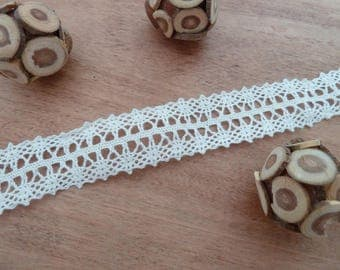 1 meter Ribbon - in - white cotton lace trim - 2 cm wide