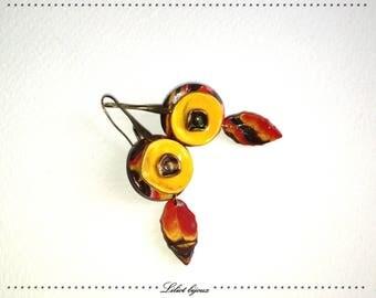 Yellow handmade polymer clay earrings