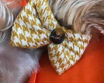 Yellow Checkered Dog Fabric Button Bowtie