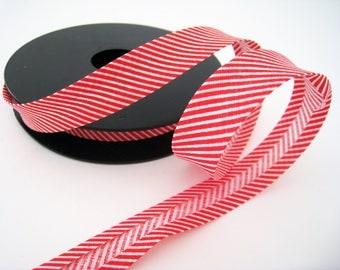 1 M Biais red/white striped cotton - 14mm for sewing and finishing