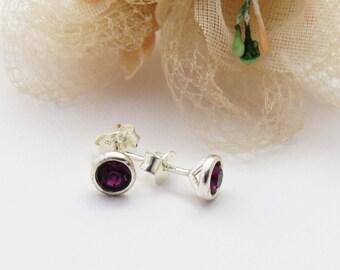 Sterling Silver Amethyst Stud Earrings, Silver Amethyst studs, Purple Earrings, Tiny Studs, February Birthstone Jewellery, Simple Earrings