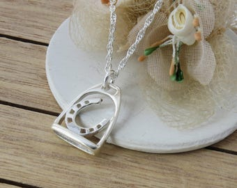 Sterling Silver Stirrup Jewelry, Gift for Horse Lover. Stirrup Necklace,