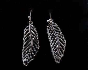 Sterling Silver Feather Earrings, Silver Feather Drop Earrings, Long Feather Earrings, Angel Feather Earrings, Gift for Wife
