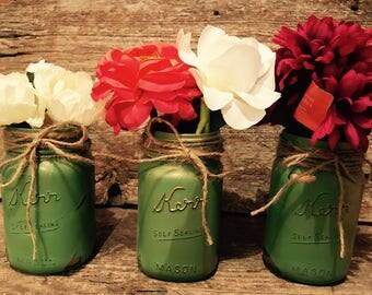 3 handpainted distressed Green and Gold Kerr mason jars