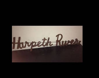 "Recycled Metal ""Harpeth River"" Wall Decor Sign Word"