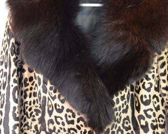 Vintage sixties retro jacket leather with animal print size S knee-length A-line fitted