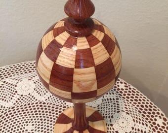 Checkered segmented turned wood finial decorative woodturning