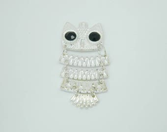 1 x 50mm silver plated OWL pendant charm