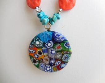 "multicolored ""mille fiori"" murano glass disc"
