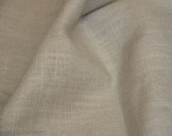 Beige WASHED linen fabric / light grey 140 X 50