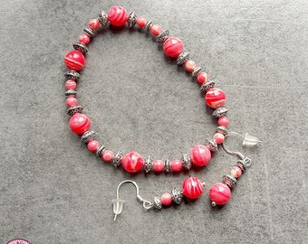 Set bracelet and earrings with Rhodonite