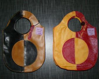"Two small handbags ""target"" Garnet/Tan and brown/black leather"