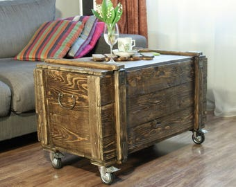 Antique Vintage Old Wood Chest Trunk Box Loft Industrial and coffe table