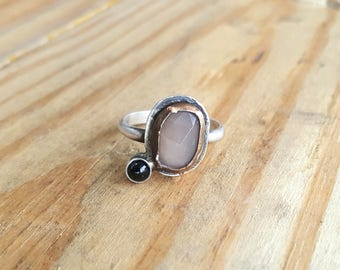 Peach Moonstone and Onyx Ring