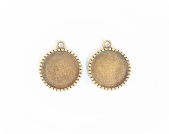 x 2 support cabochon 18mm bronze