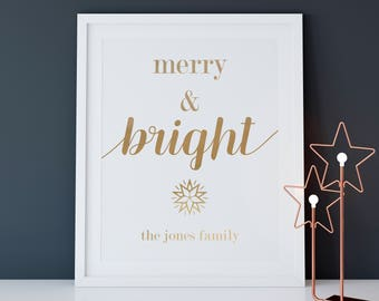 """PERSONALIZED FOIL """"Merry & Bright"""" Art Print, Wall Decor"""