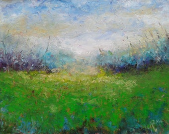 Longing for the sea, 70x50cm, light blue green grass field landscape
