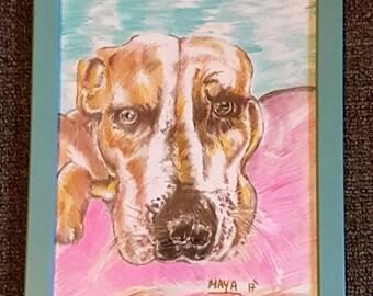 Beautiful drawing of a Staffy dog. Pet portrait. Animal art.