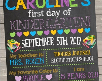 First Day of Kindergarten Chalkboard Printable