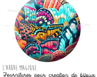 Cabochon 25 mm Butterfly ref 1708 multicolor Patchwork fantasy