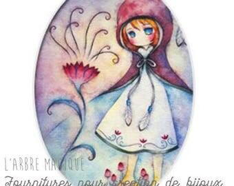 Cabochon fancy 18 x 25 mm fairy fairy tale, romantic fairytale character 1825c496