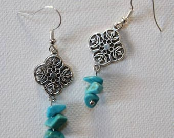Earrings Silver earrings with turquoise chips beads