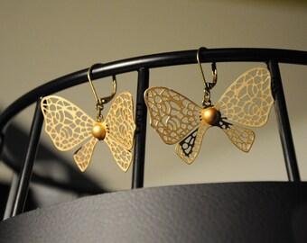 "Earrings elegant ""gold tone metal bow"""