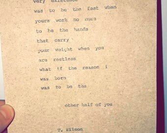 Custom, hand-typed poem about love