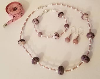 Purple Beaded Jewelry Set