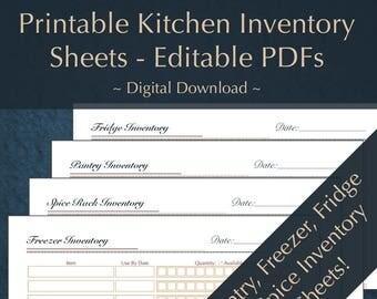 Printable/ Editable / Kitchen Inventory/ Home Management/ Pantry/ Freezer/Fridge/Spices/ Household Management PDF/Binder/Planner/Inventories