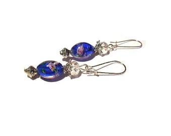 Shabby chic, dark blue murano beads earrings