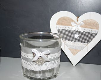 pencil holder in white and grey linen cotton heart and lace