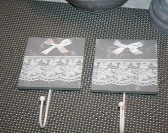 2 hooks for hanging towels white-leaded grey and white lace shabby