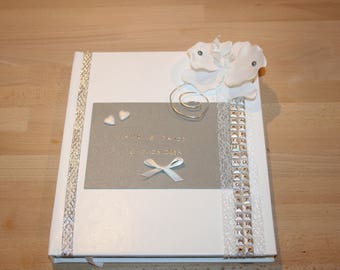 grey white wedding guest book and silver Orchid customizable