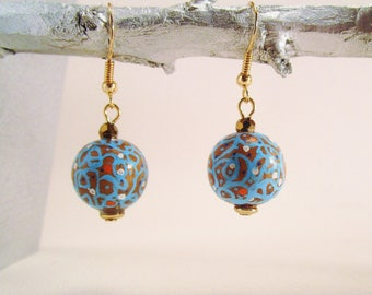 Earrings, dangle earrings, turquoise and copper Brown.