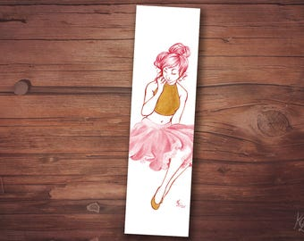 Bookmark - pink girl skirt