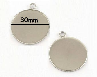 5 pendants stainless steel 30mm cabochon