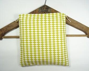 Mustard and white Argyle pouch cotton oeko-tex