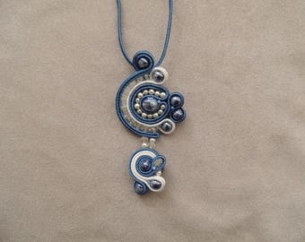 Blue and white soutache embroidered necklace