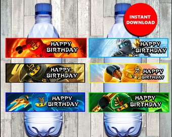 80% OFF Ninjago Water Bottle Label instant download, lego ninjago party Water Bottle Label, ninjago Water labels