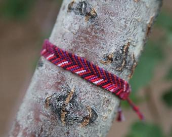 Handwoven Custom Bracelet Red/Purple