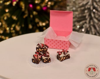 Miniature Peppermint Brownies, 1:12 Scale Dollhouse Peppermint Fudge Brownies for Christmas or Holidays