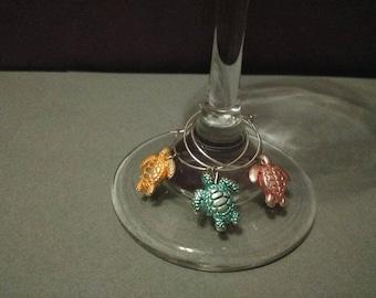Turtle wine glass charms