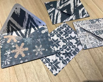 Set of four lined handmade winter envelopes with notecards