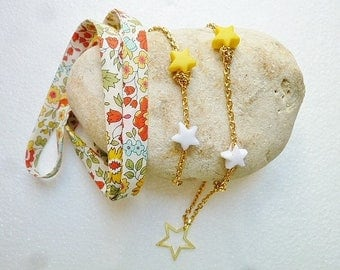 Star chain and liberty orange necklace