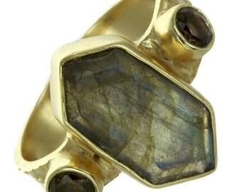Labradorite Hexagon Ring
