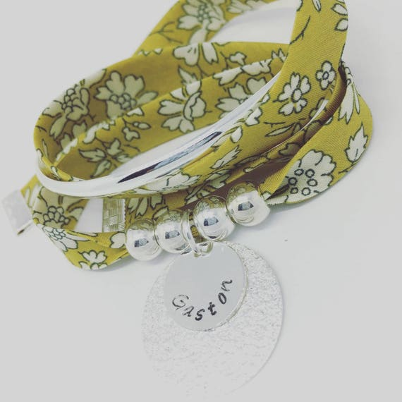 ★ Design Jewelry Personalized Christmas GriGri XL Liberty of London mustard with personalized engraving by Palilo ★