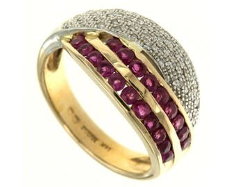 14 kt gold ring Vintage American. Rubies and diamonds, Age 80 Years, ring gemstone jewelry, gemstone, Ring Anello Usa United States