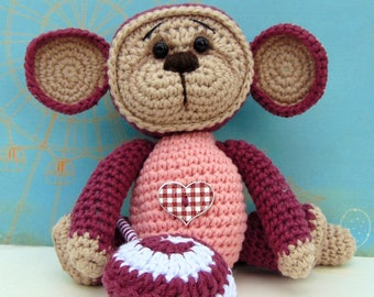 Crochet Monkey Amigurumi in Pink with Crochet Lollipop and Heart Button, Stuffed Toy