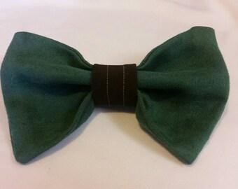 Green Hair Bow w Brown Pinstripe Trim